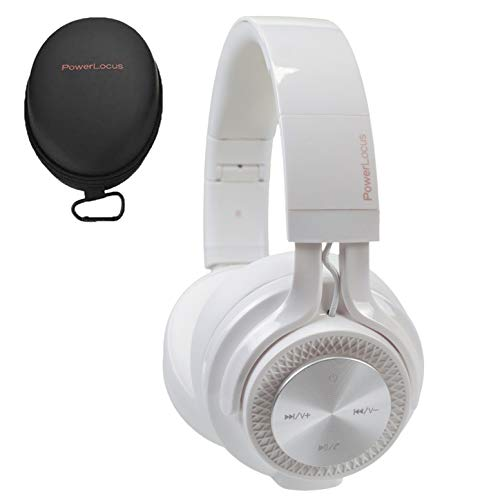 PowerLocus P3 Wireless Bluetooth Headphones Over-Ear, [40h Playtime, Bluetooth 5.0] Foldable Stereo Wireless/Wired Headphone Over Ear with Mic Deep Bass Headset for iOS/Android/Laptop/PC/TV - White