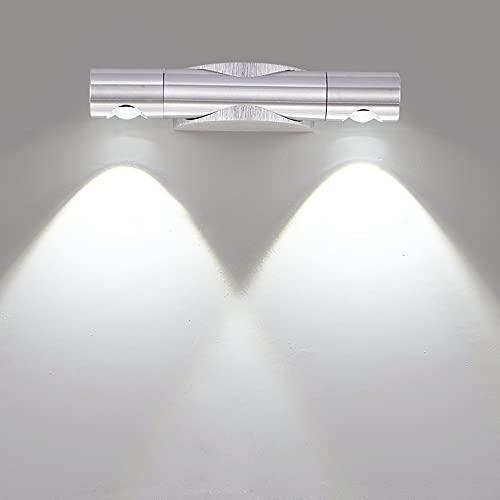 SISVIV 6W LED Applique da Parete Interno Regolabile a 360° Lampada da Parete Moderna Lampada da Muro per Camera da Letto Salotto Scale Luce Specchio Bagno Bianco Freddo
