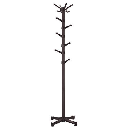 SONGMICS Rotating Hooks Coat Hat Rack Entryway Coat Tree with Base for Coat Hat Purse Jacket Espresso