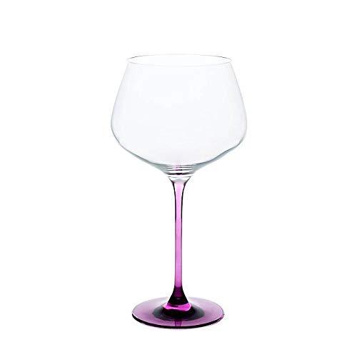 CRISTALICA Weinglas Weinkelch Charisma Rotwein Burgunder 775ml klar mit violettem Stiel