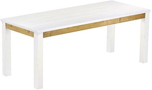 Brasilmöbel Esstisch Rio Classico 200x80 cm Snow Brasil Massivholz Pinie Holz Esszimmertisch Echtholz Größe und Farbe wählbar ausziehbar vorgerichtet für Ansteckplatten