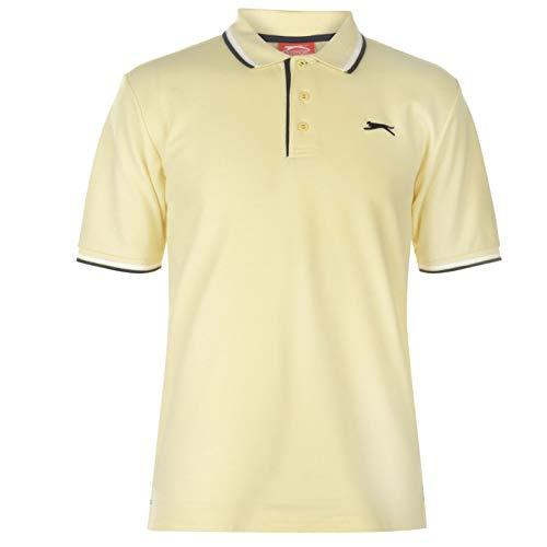 Slazenger Tipped Herren Polo Poloshirt T Shirt Kurzarm Classic Fit Tee Top Hellgelb XS