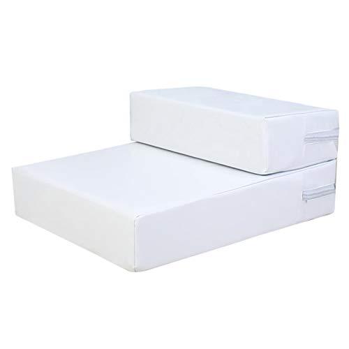 LHY-TRAVEL 2-Stufige Haustreppen, rutschfeste Ledernutzbare Waschbare Faltbare Hundestufen, Weiche Gepolsterte Überdachte Katze Hunderampe Für Hohe Betten,Weiß