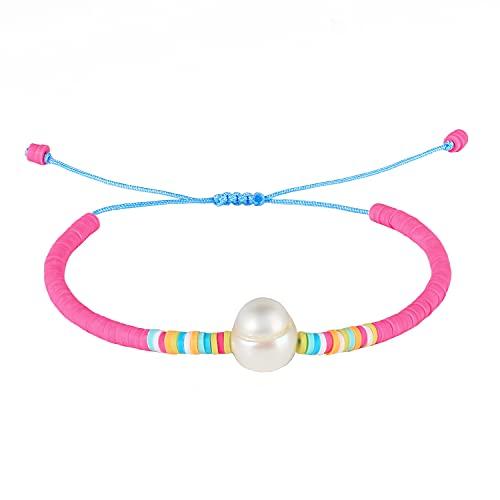 KANYEE Pulseras de cuentas de perlas hechas a mano coloridas pulseras del cordón de la amistad, pulseras del encanto - 19F
