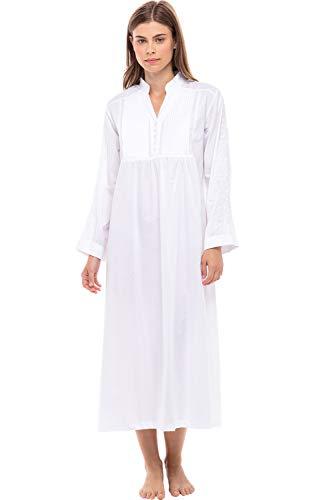 Alexander Del Rossa Womens Guinevere Cotton Nightgown, Long Poplin Victorian Sleepwear, Medium White (A0520WHTMD)