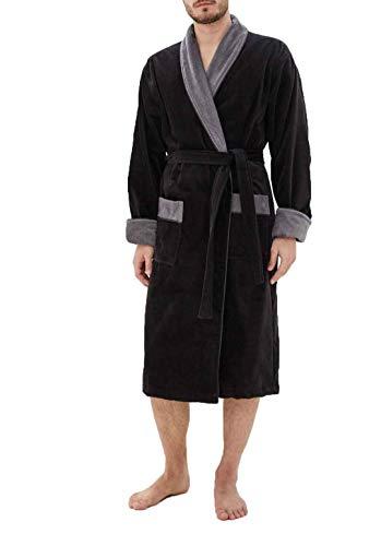 Luisa Moretti heren badjas van velours met contrasterende sjaalkraag / maten S - XXL/Öko-Tex Standard 100