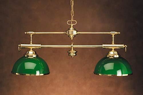 Große Pendelleuchte Messing Glas in Grün 93,5cm lang Jugendstil 20er Billard Lampe Esstisch Salon