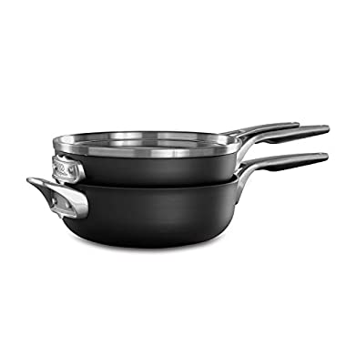 Calphalon 2010653 Premier Space Saving 3 Cookware Set, 3-Piece, Black