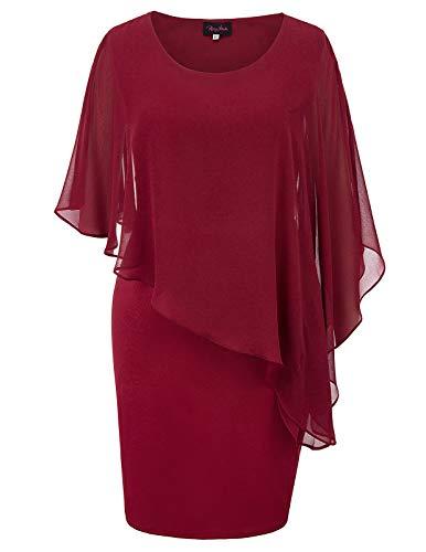 Hanna Nikole Sexy Womens Batwing Cape Bodycon Pencil Mini Dress Plus Size Wine Red 18W
