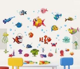 HALLOBO® Wandtattoo Tiefsee Fisch Meer Ozean Aquarium Unterwasser Wandaufkleber Kinderzimmer Bad Wand Sticker Babyzimmer Badzimmer Kinder Baby
