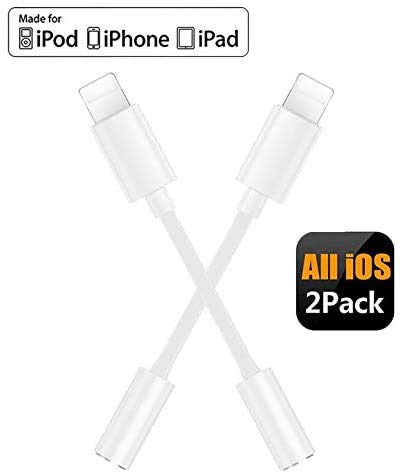 【2 Pack】 Kopfhörer Adapter für iPhone 11 Kopfhörer auf 3,5 mm Klinkenadapter Aux-Kabel Kopfhörer-Splitter Kompatibel mit iPhone 11 Pro/X/XS/XS Max/7/7Plus/8/8Plus Aux-Audio-Dongle für iOS 10.3