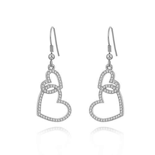 Orecchino a pendente per donna, orecchino a goccia a cuore legato Orecchini a catena in oro o argento con orecchino di cristallo in acciaio inossidabile (Placcato argento)