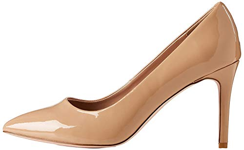 find. Wide Fit Point Court Shoe Zapatos de tacón con Punta Cerrada, Beige, 37 EU