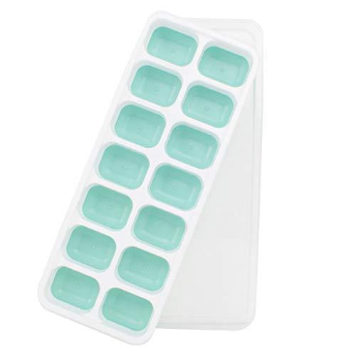 Eariy 14-Fach Eiswürfelform Silikon Eiswuerfel Mit Deckel Ice Cube Tray, Eiswürfel Form mit Deckel,Eiswürfelform für Familie Partys Bars (Minzgrün)