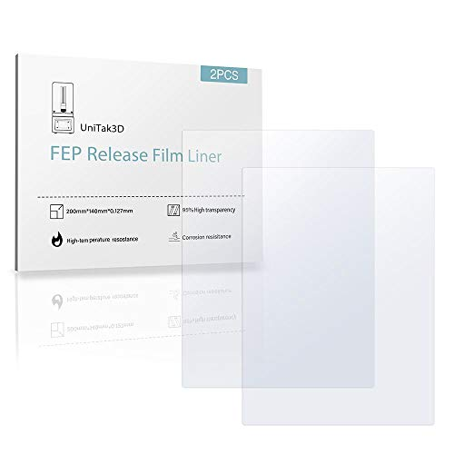 UniTak3D FEP Release Film (2 Stück) 140x200mm 3D Drucker Zubehör für UV DLP LCD ANYCUBIC Photon ELEGOO Mars 3D-Drucker Dicke 0,15 mm