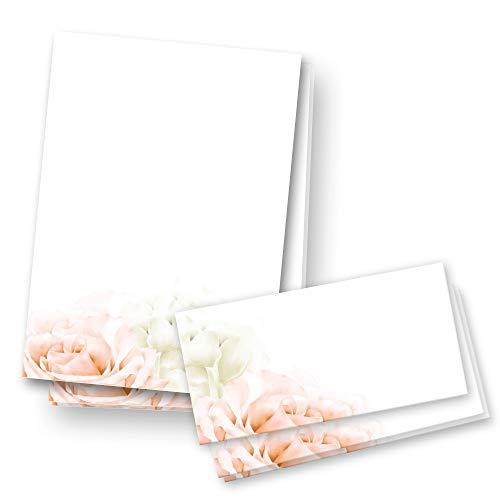 Juego de papel de carta, 25 unidades, DIN A4 con sobres a juego, para cumpleaños, día de San Valentín, boda, Navidad (Set flores)