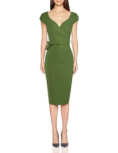 MUXXN Women's Gorgeous Low Cut V Collar High Stretch Belt Formal Wedding Dress (Olive Green XXL)