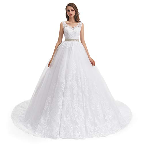 Datangep Wedding Dress for Women Floral Lace Backless A-Line V Neck Long Gowns(Ivory ,US12) (Apparel)