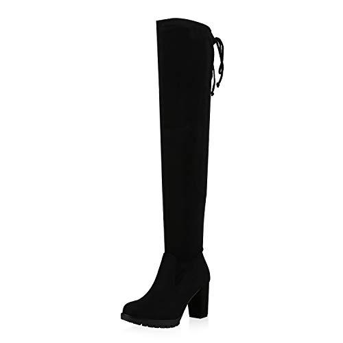 SCARPE VITA Damen Overknees Stiefel Leicht Gefütterte Boots Profilsohle High Heels Wildleder-Optik Schuhe 172409 Schwarz Schwarz Total 37