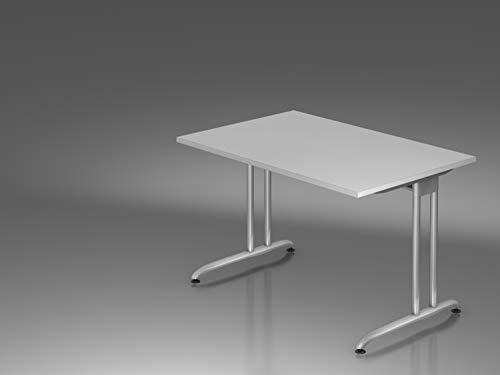Schreibtisch C Fuß 120x80cm Grau Bürotisch EDV Tisch