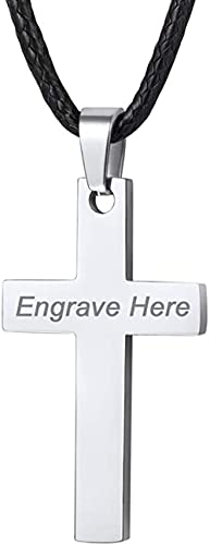 HUIQ Chain Cadena de Acero Joyas cristianas para Hombres Cruces de 26 Pulgadas en Cadena de Cuero