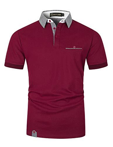 GHYUGR Polos Hombre Manga Corta Cuello Clásico de Empalme a Cuadros con Bolsillo Algodón Casual Camiseta Verano Golf Tennis T-Shirt,Rojo Vino,XL
