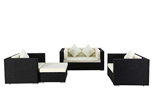 OUTFLEXX Loungemöbel-Set, 5 Personen, schwarz, Polyrattan, wasserfeste Kissenbox
