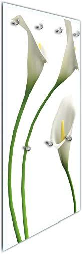 Wallario Wandgarderobe aus Glas in Größe 50 x 125 cm in Premium-Qualität, Motiv: Callas weiß gelb   7 Kleiderhaken zum Aufhängen von Jacken