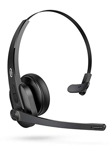 TaoTronics Trucker Bluetooth Headset with Microphone, Wireless Headset Noise Cancelling Mic, On Ear Bluetooth Headphones Noise Reduction, Bluetooth 5.0, for Truck Driver Office Call Center (Renewed)