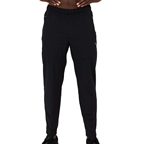 Layer 8 Men's Stretch Woven Running Gym Pants (Large, Black)