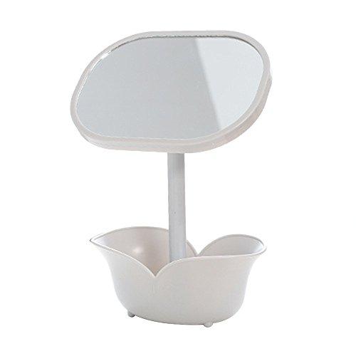 Drawihi Miroir De Maquillage Miroir Cosmétique Miroir De Table Boîte De Rangement Miroir De Rangement Décoration De Bureau pour Femmes Filles(Blanc Crème)
