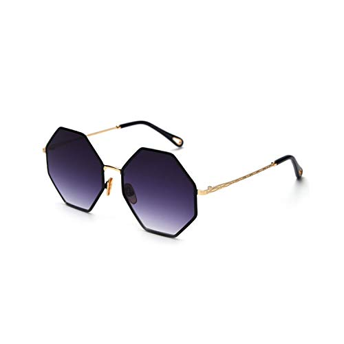 Sportbrillen, Angeln Golfbrille,Big Octagon Sunglasses Woman Trend NEW Gold Black Gradient Oversized Sun Glasses For Men Vintage UV400 Polygon as show in photo gold with pink