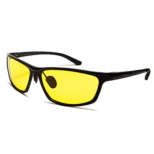 Men's HD Yellow Night Vision Goggles Driving Glasses for For Outdoor Sports Black Carbon Fibre Frame (Black Carbon Fibre Frame, Polarized Yellow Lens)