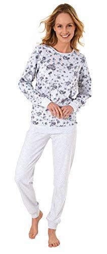 Eleganter Damen Schlafanzug Pyjama Langarm mit Bündchen in Kuschel Interlock Qualität, Farbe:grau, Größe2:38