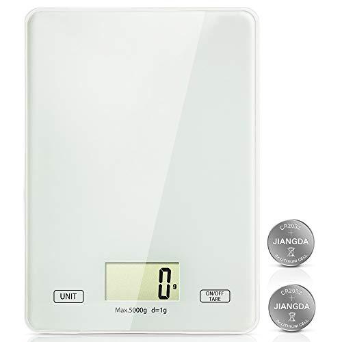Lekesky Digitale Küchenwaage Digitale Lebensmittelwaage mit LCD-Display, 5KG Küchenwaage Digitalwaage (1-g-genau) mit Gehärtetem Glas, White