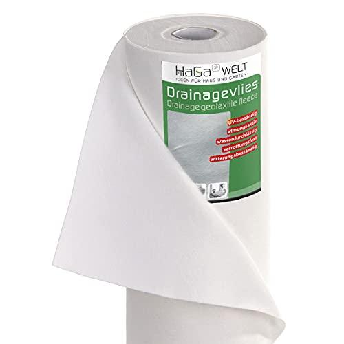 HaGa® Drainageveleves Filtre de drainage en non-tissé non-tissé 120 g/m² 2 m x 10 m – Respirant – Haute résistance à la température – Très robuste