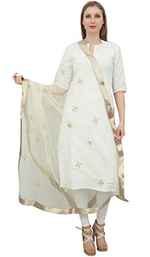 Phagun de las mujeres del cuello del abrigo de diseñador neto Dupatta indio largo de la estola Throw