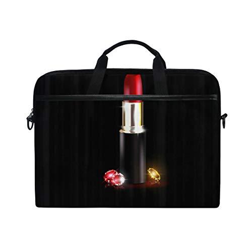 VICAFUCI New 15-15.4 Zoll Laptop Tasche,Umhängetasche,Handtasche,Girly Kristalle Und Der Rote Lippenstift In Schwarz