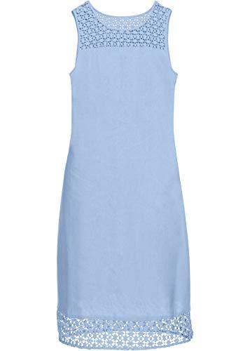 bonprix Mit Spitze Verziertes ärmelloses Leinenkleid in figurschmeichelnder Schnittform Mittelblau 40 für Damen
