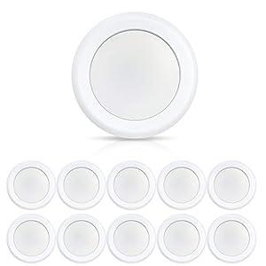 ECOELER 10 Pack 6inch LED Disk Light, 15W Dimmablel Lighting Fixture, 4000K Cool White, Low Profile Aluminum Baffle Trim Flush Mount Ceiling Light, Energy Star & ETL-Listed Approved