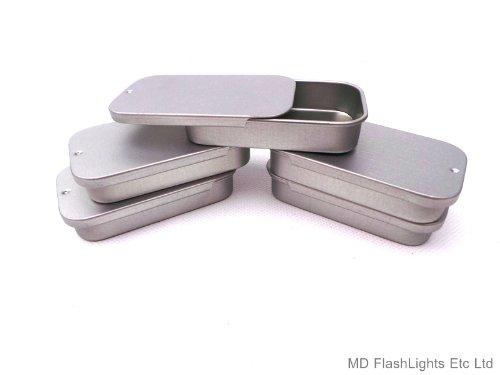 5 latas de Almacenamiento con Tapa Deslizante en Blanco, Color Plateado, de Bushcraft,...