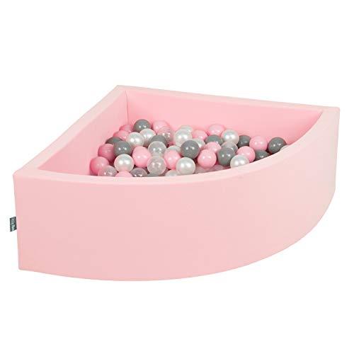 KiddyMoon 90X30cm/200 Balles Piscine À Balles ∅ 7Cm pour Bébé Quart Angulaire Fabriqué en UE, Rose : Perle-Gris-Transparent-Rose Poudré