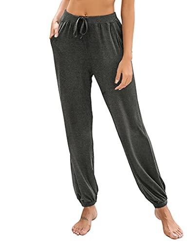 Ekouaer Women's Palazzo Pajama Pants Lounge Sleep Trousers Workout Legging Dark Grey