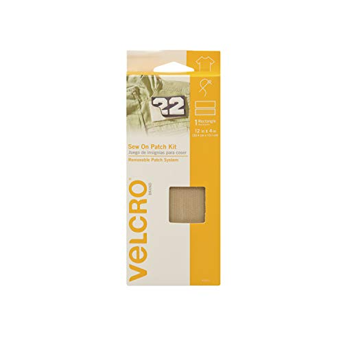 VELCRO Brand For Fabrics | Sew On Patch Kit | No Ironing or Gluing | Removable Patch System for Securing Military and Scouting Patches to Uniforms | Pre-Cut Strips, 12 x 4 inch, Dust Tan
