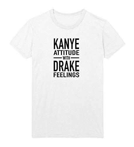 Preisvergleich Produktbild MiMiTee Kanye Attitude Drake Feelings Sommer Herren Baumwoll T-Shirt atmungsaktiv Brief drucken Kurzarm Kreative Grafik Lässig O-Neck Tee für Häuser im Freien