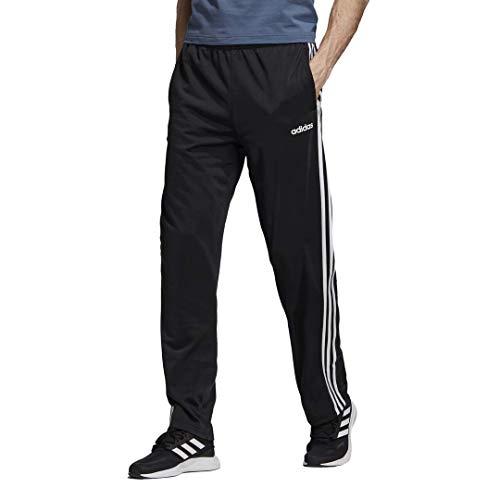 adidas Men's Essentials 3-Stripes Regular Tricot Pants, Black/White, Medium