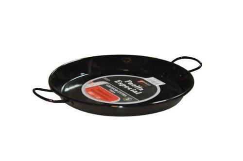 \'Vaello\' Paellapfanne mit Stahlkern - 30 cm Durchmesser - dank schwerem Stahlboden für alle Kochplatten (auch Induktion) geeignet - typisch schwarz emailliert
