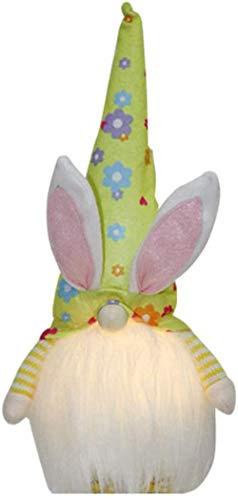 FATEGGS Juguetes de peluche Gnomo de conejo de Pascua con luz LED hecha a mano sueco Tomte conejo de peluche juguetes muñeca niños regalo de Pascua
