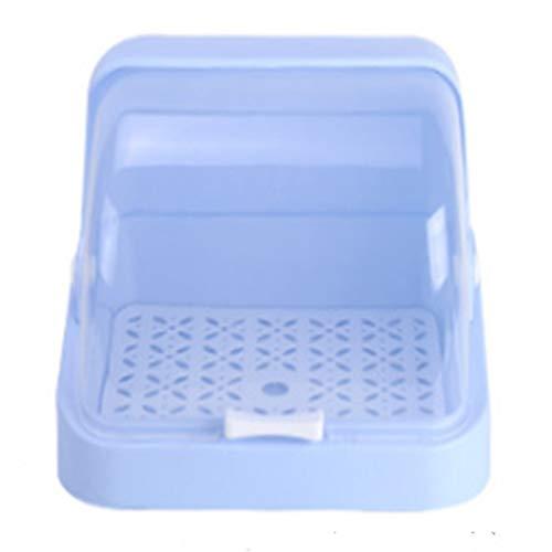 JVSISM Caja de Almacenamiento de Biberones Antipolvo Rejilla de Secado Vajilla de PláStico Estuche Seco Escurridor de Limpieza Contenedor de Almacenamiento Azul