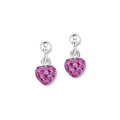 amor Ohrring für Mädchen Ohrhänger Herzen 925 Sterling Silber Kristall pink